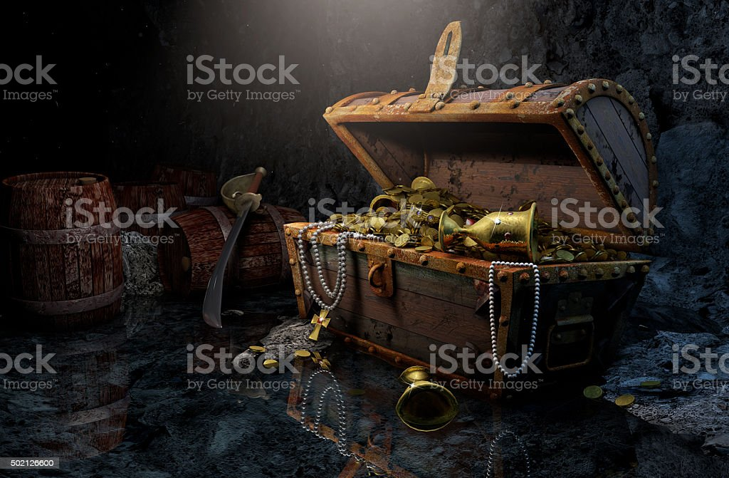 Pirate's chest stock photo
