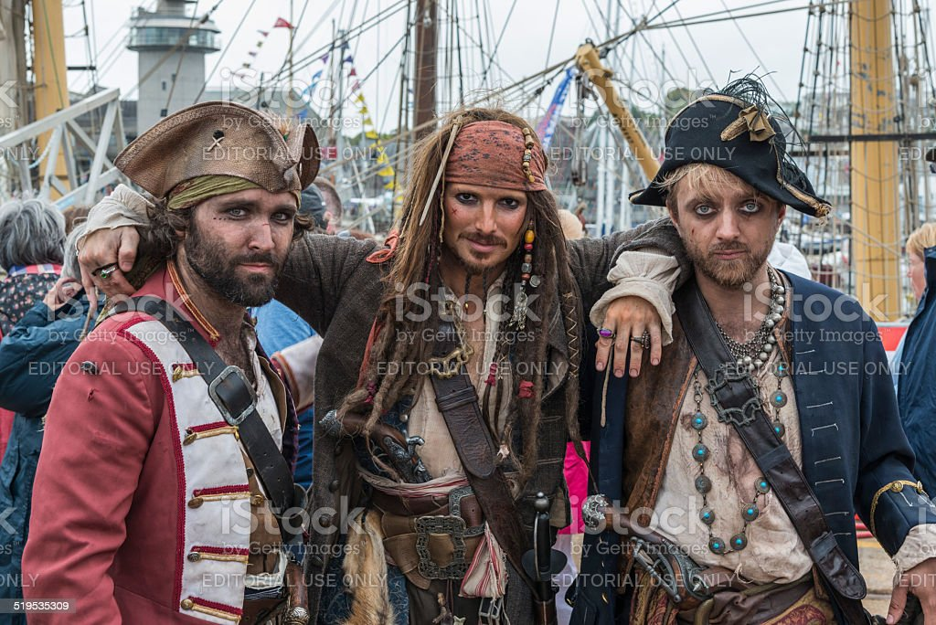 Pirates, including Captain Jack Sparrow (lookalike) stock photo
