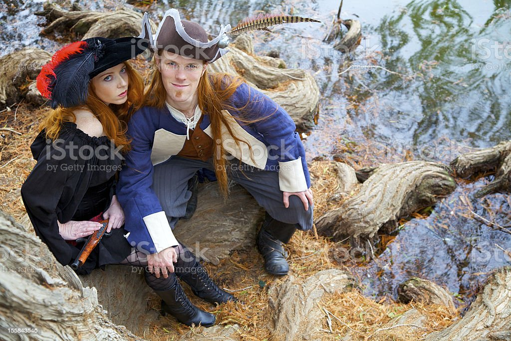Pirates on the shore royalty-free stock photo