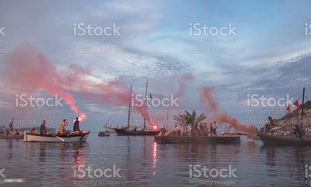pirati al tramonto stock photo
