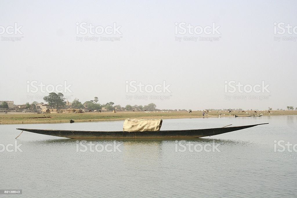 pirogue boat on the Niger royalty-free stock photo