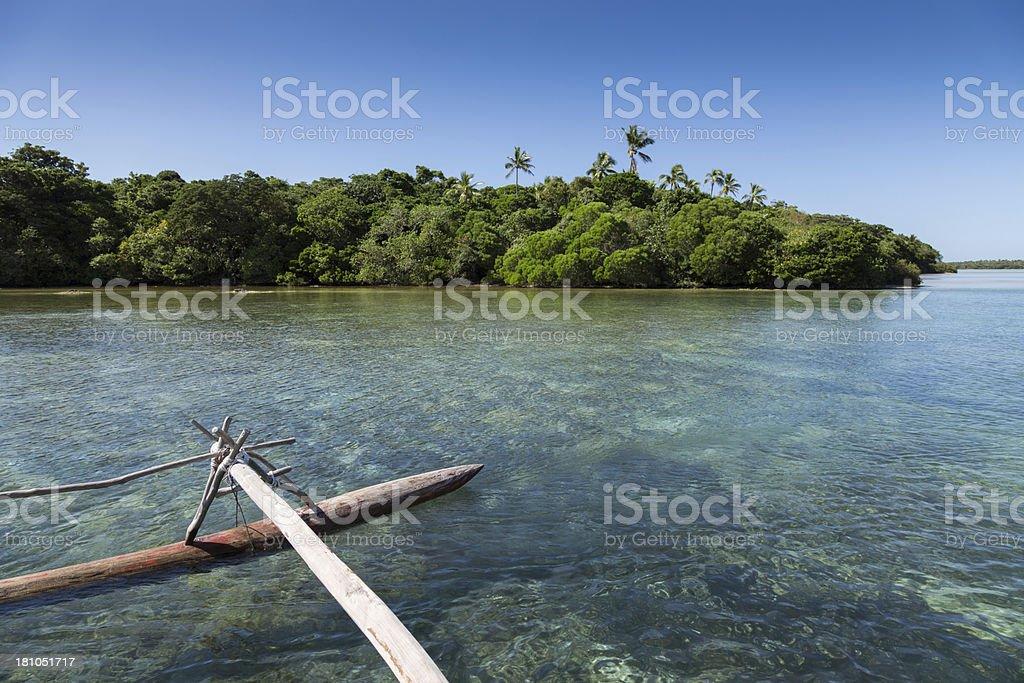 Pirogue on beautiful Pines Island, New Caledonia royalty-free stock photo