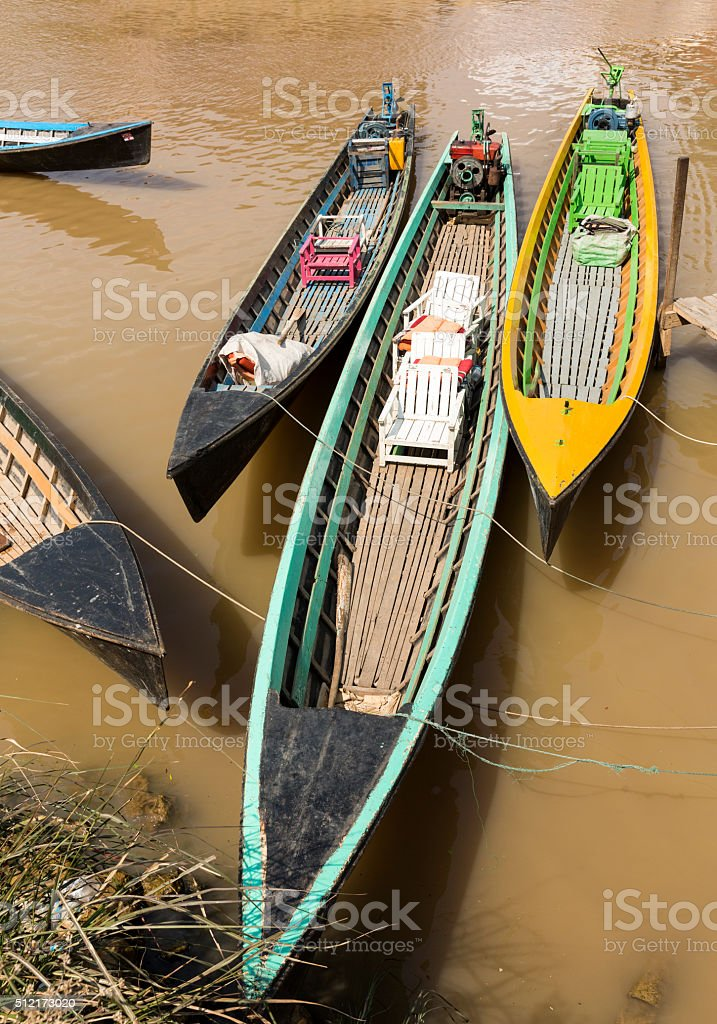 Pirogues moored on Inle Lake stock photo