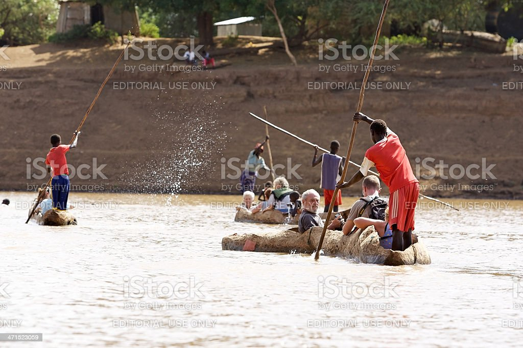 Pirogues on the river royalty-free stock photo