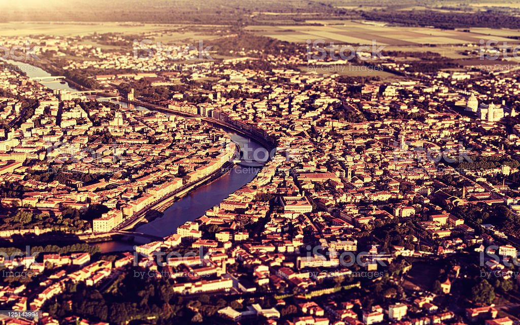 Pisa aerial view at sunset - HDR royalty-free stock photo