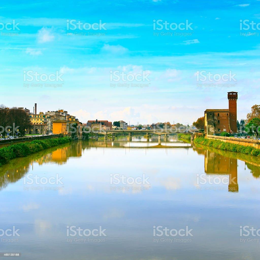 Pisa, Arno river and bridge. Lungarno view. Tuscany, Italy stock photo