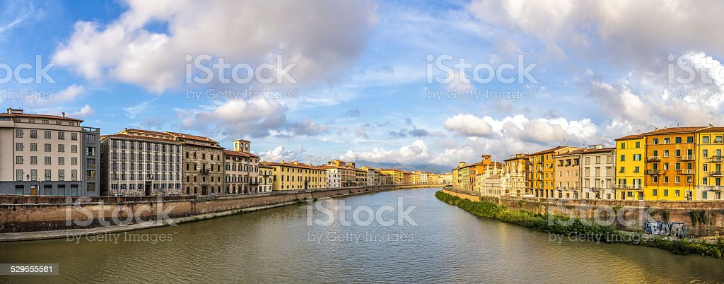 Pisa, Arno river and buildings at golden hour stock photo