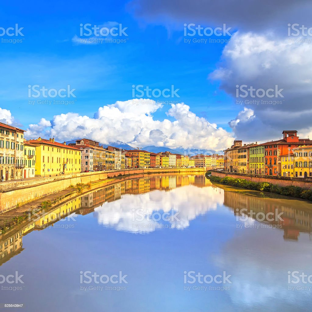 Pisa, Arno river and buildings reflection. Lungarno view. Tuscan stock photo