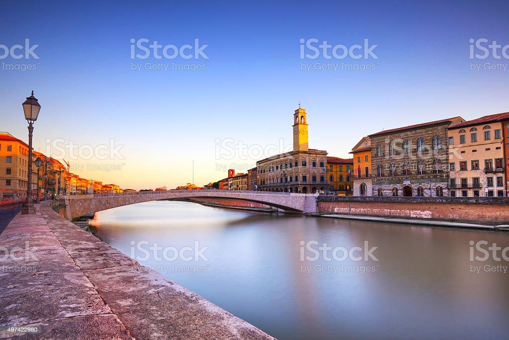 Pisa, Arno river, Ponte di Mezzo bridge. Lungarno view. Tuscany, stock photo