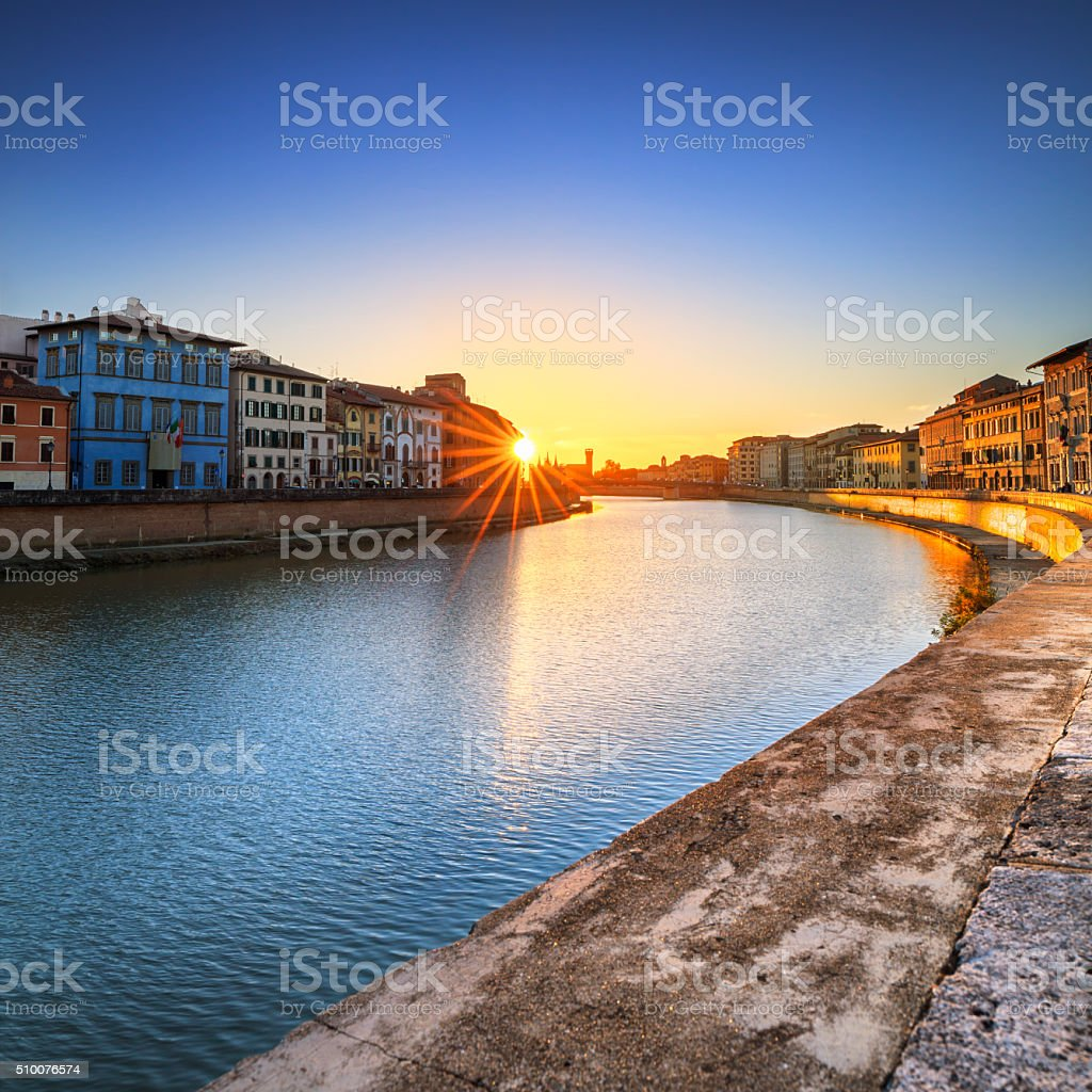 Pisa, Arno river sunset. Lungarno view. Tuscany, Italy stock photo