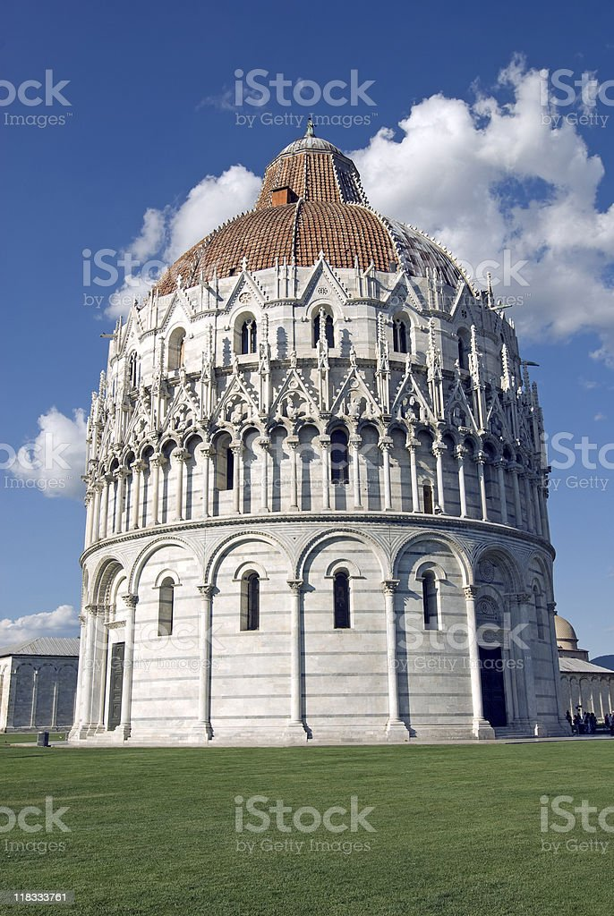 Pisa (Tuscany), Baptistery of the Cathedral in Campo dei Miracoli royalty-free stock photo