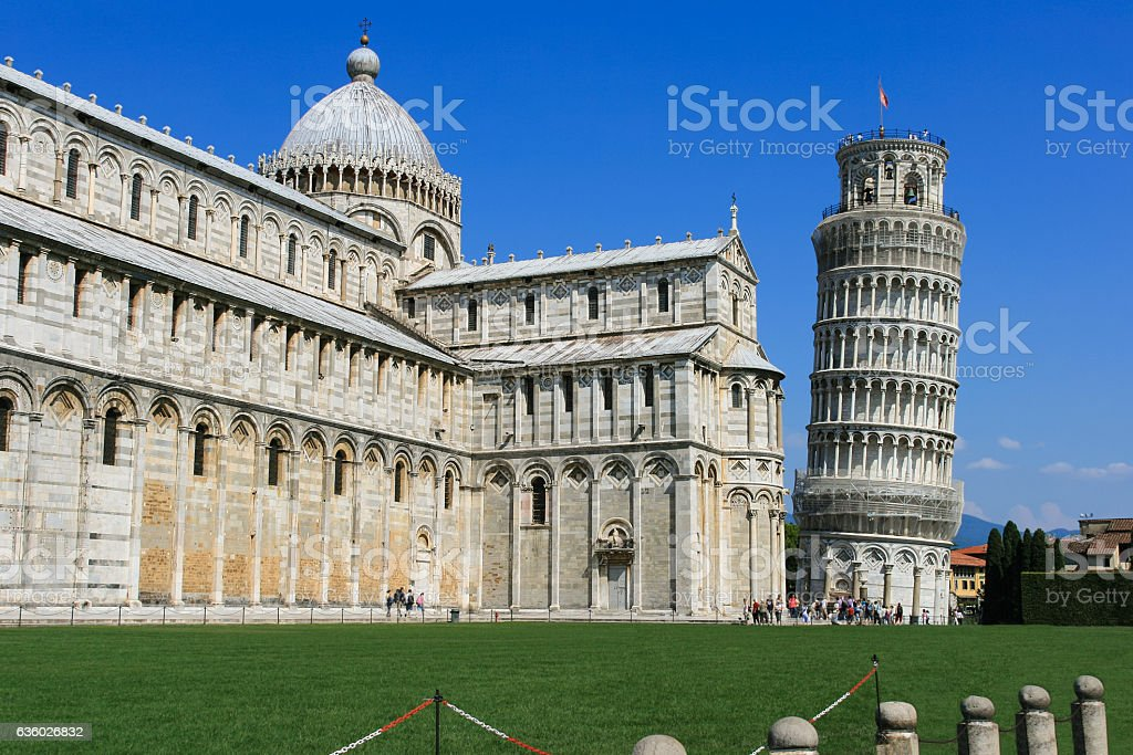 Pisa Cathedral and Leaning Tower, Piazza del Duomo, Pisa, Italy. stock photo