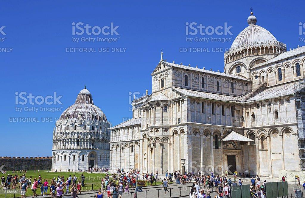 Pisa Cathedral and San Giovanni Battistero, Piazza del Duomo stock photo