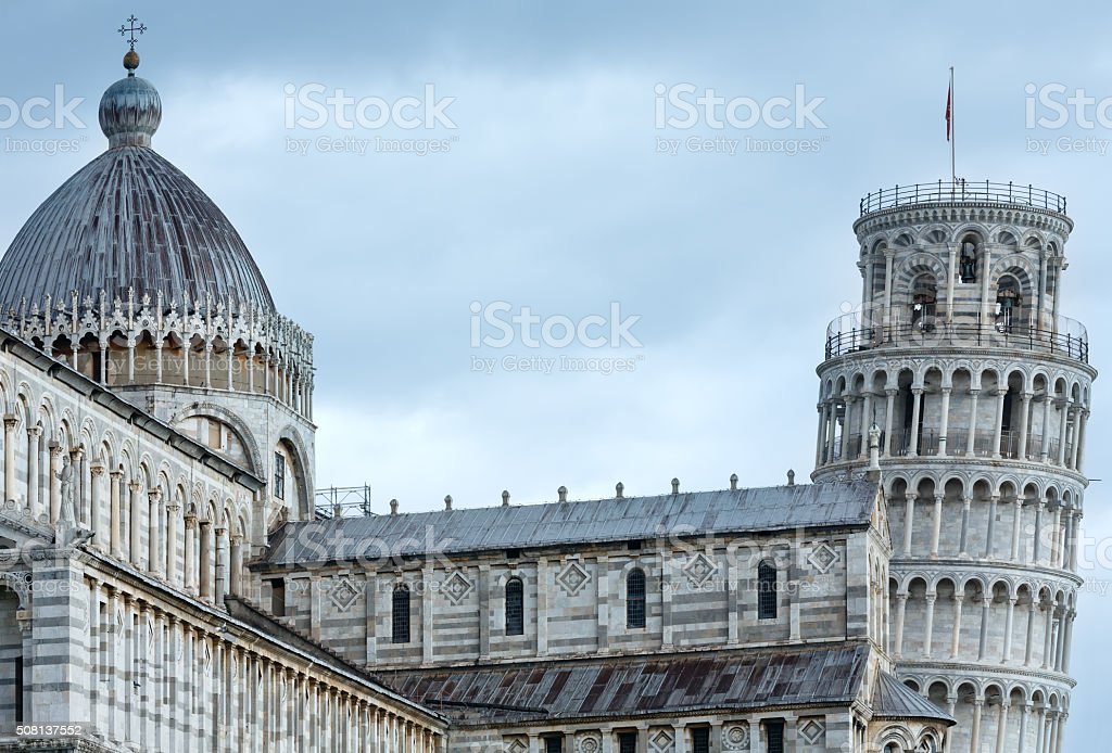 Pisa Cathedral with the Leaning Tower (Italy). stock photo