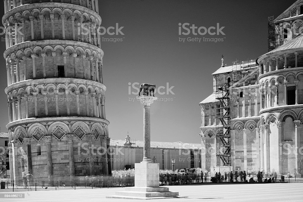 Pisa, infrared black and white view of the tower stock photo