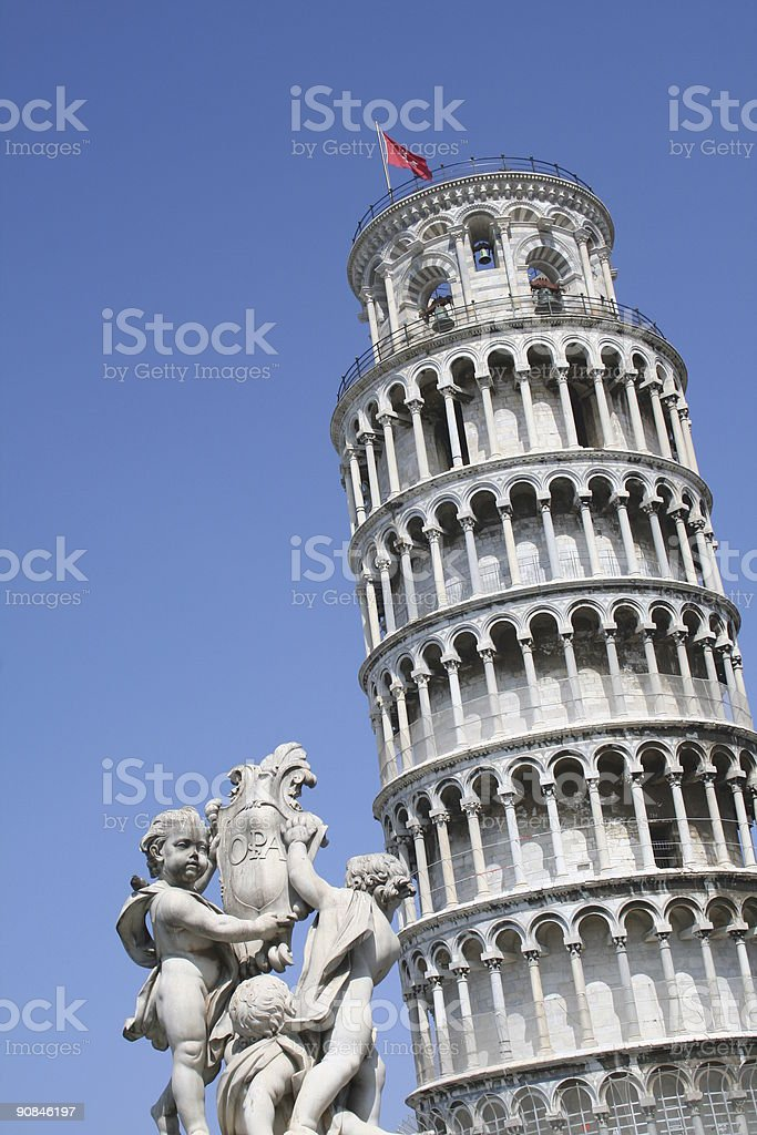 Pisa Leaning Campanile with Statues royalty-free stock photo