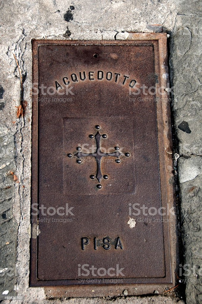 Pisa Manhole stock photo