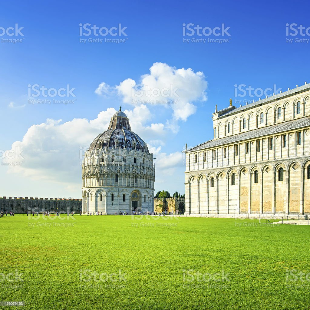 Pisa, Miracle Square. Bapstistry and cathedral Duomo. Tuscany, Italy stock photo