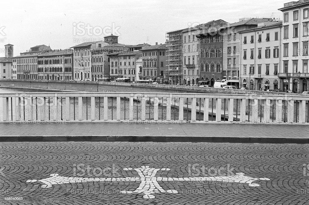 Pisa - Ponte di Mezzo and symbol stock photo