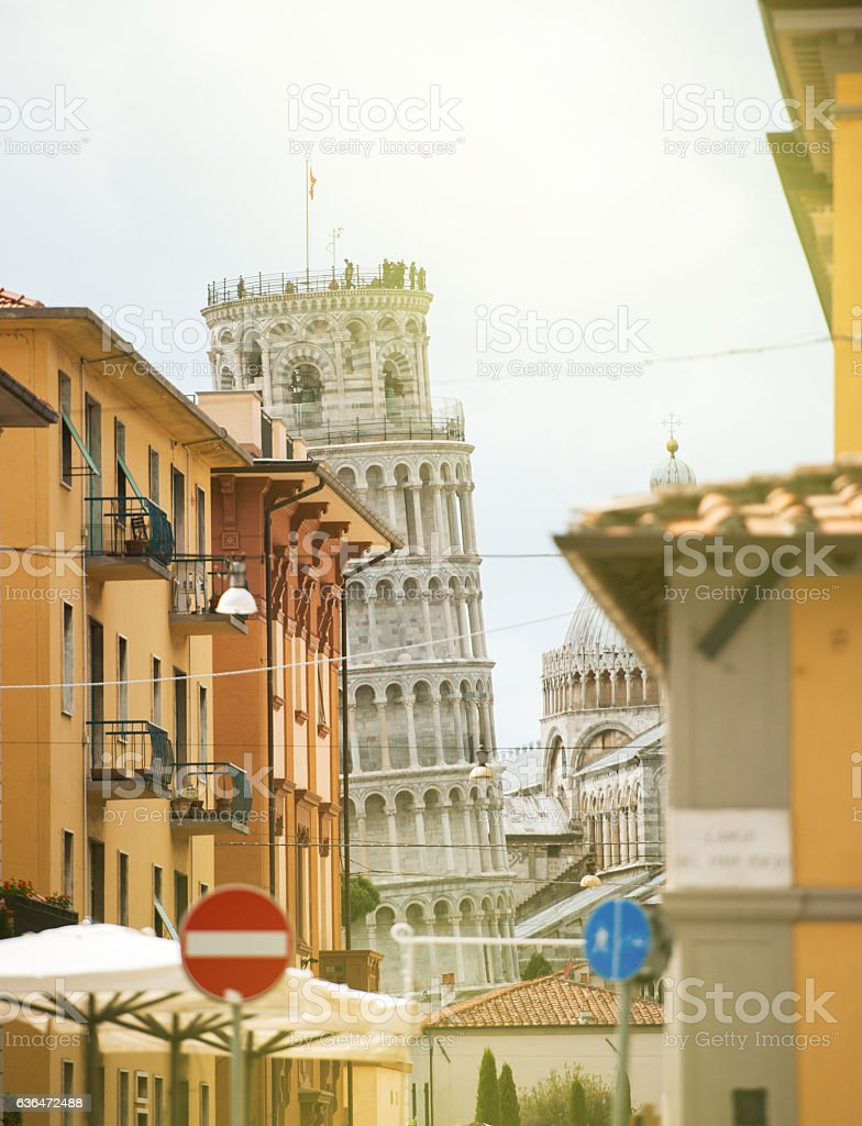 Pisa street and Leaning Tower on sunny day stock photo