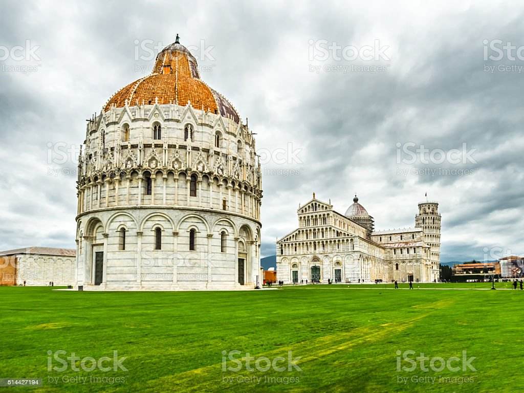 Pisa tower, baptistry and cathedral in Piazza dei Miracoli, Italy stock photo