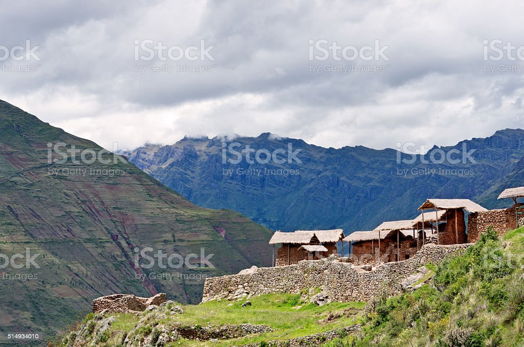 Pisac, Inca ruins in sacred valley in the Peruvian Andes, stock photo