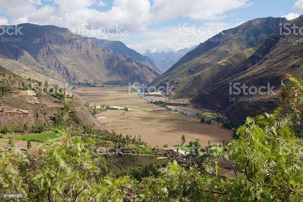 Pisac landscape stock photo