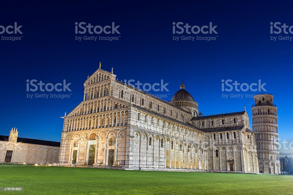 Pisa's Cathedral Square with the Tower of Pisa and the Cathedral stock photo