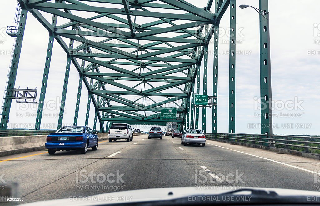Piscataqua River Bridge Expressway Traffic Speeding Toward Maine USA stock photo