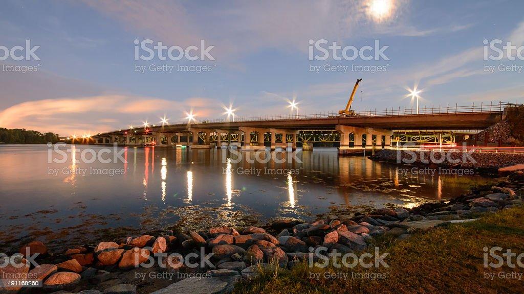 Piscataqua River Bridge Night Scene stock photo
