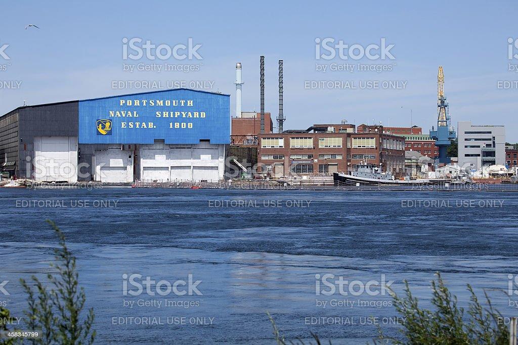 Piscataqua River Portsmouth Naval shipyard stock photo
