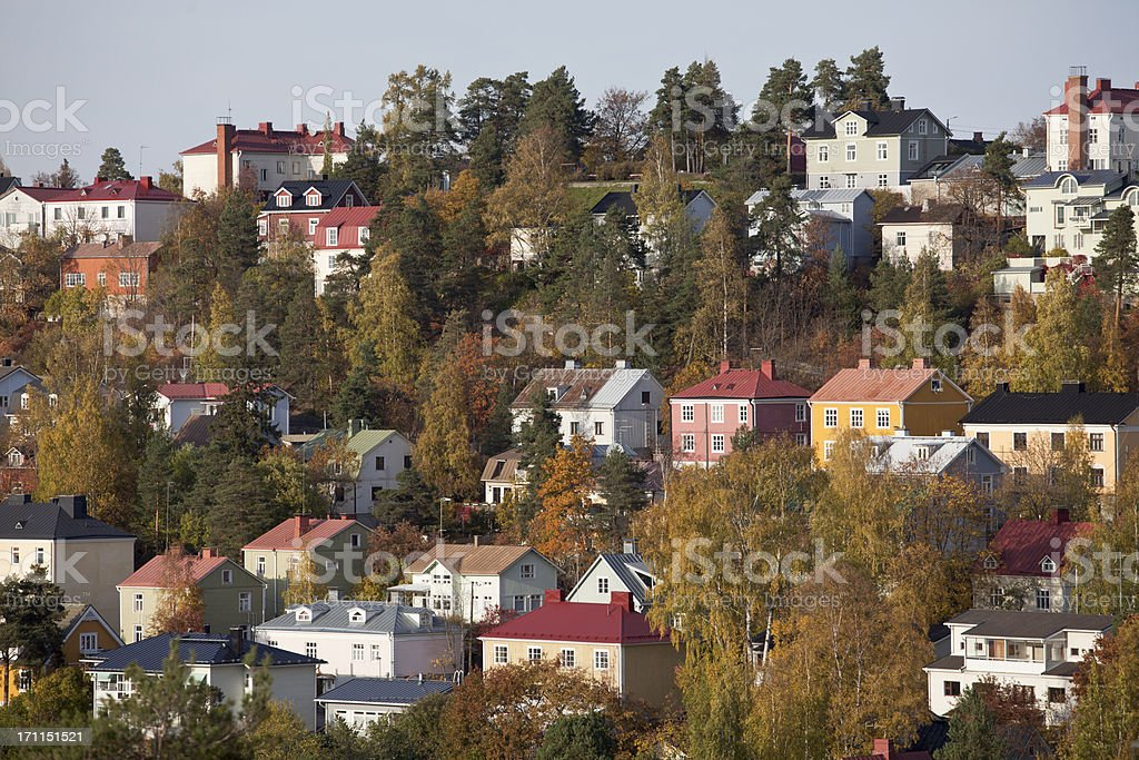 Pispala - colorful wooden houses in steep slope stock photo