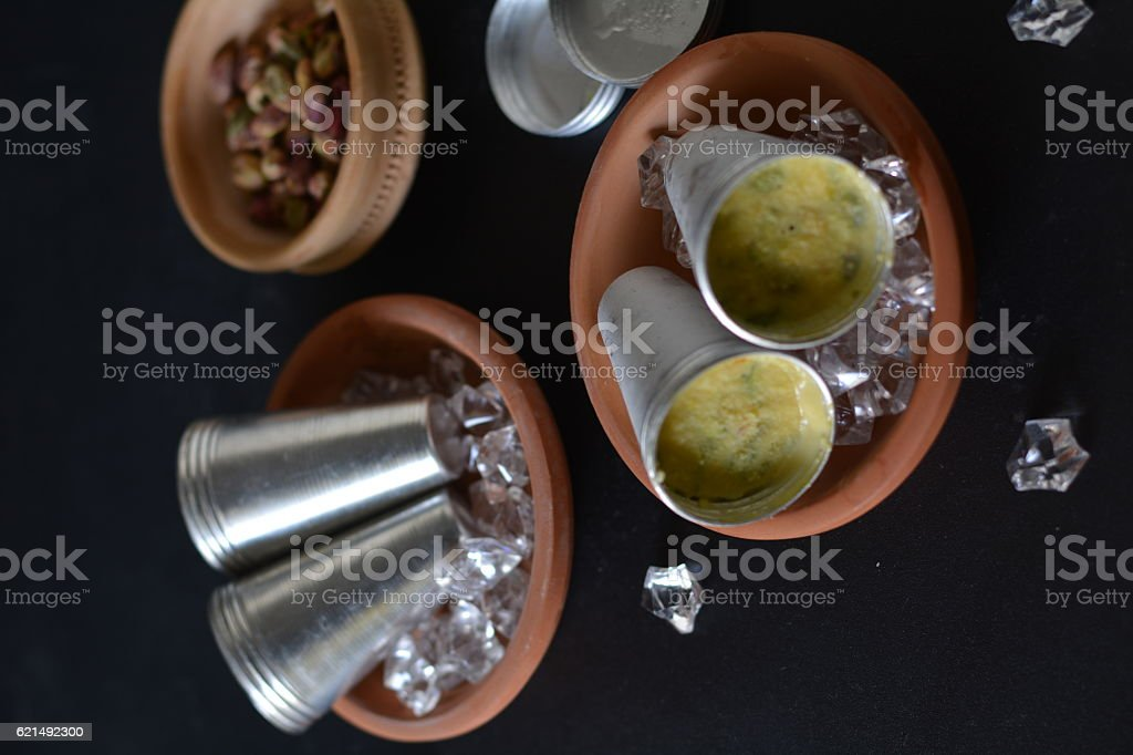 pista malai kulfi- A home made Indian style ice cream stock photo