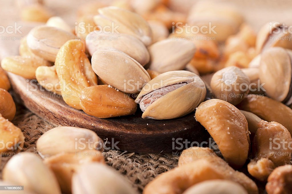 Pistachio and cashew nuts royalty-free stock photo
