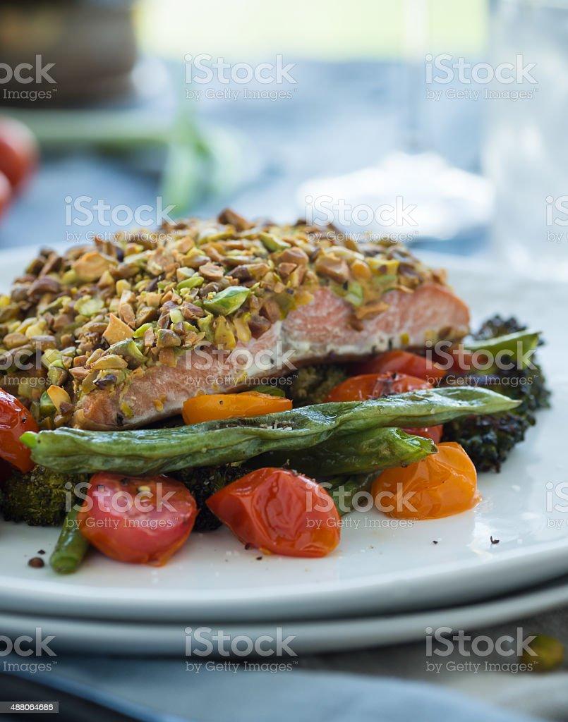 Pistachio Crusted Salmon stock photo