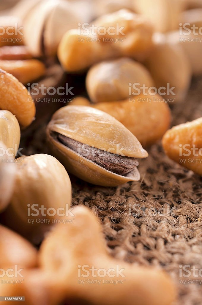 Pistachio in middle royalty-free stock photo