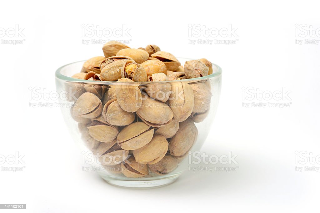 Pistachio in transparent bowl royalty-free stock photo