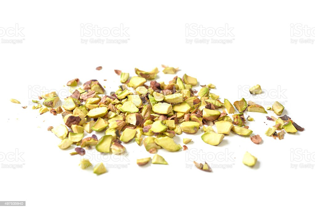 Pistachio nut roughly chopped stock photo
