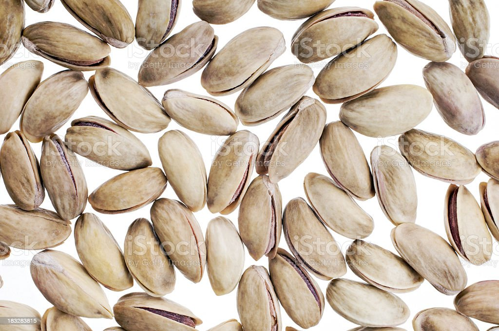 Pistachio Nuts Overhead View Isolated On White. stock photo