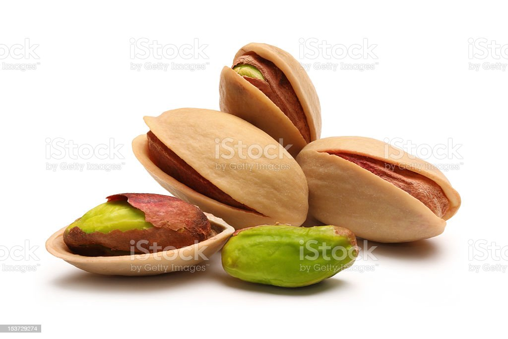 Pistachio nuts with shell casings stock photo