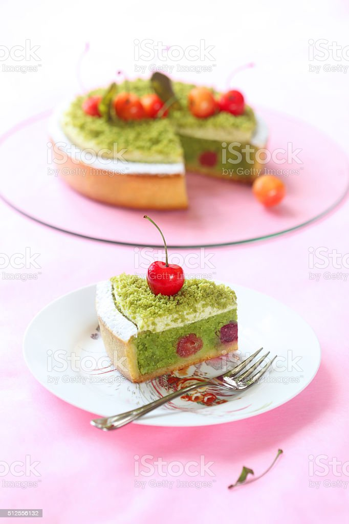 Pistachio Tart with Cherries stock photo