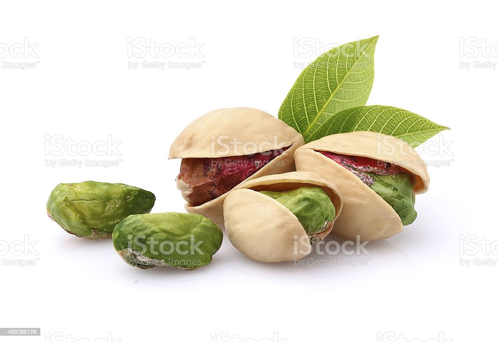 Pistachio with leaves stock photo