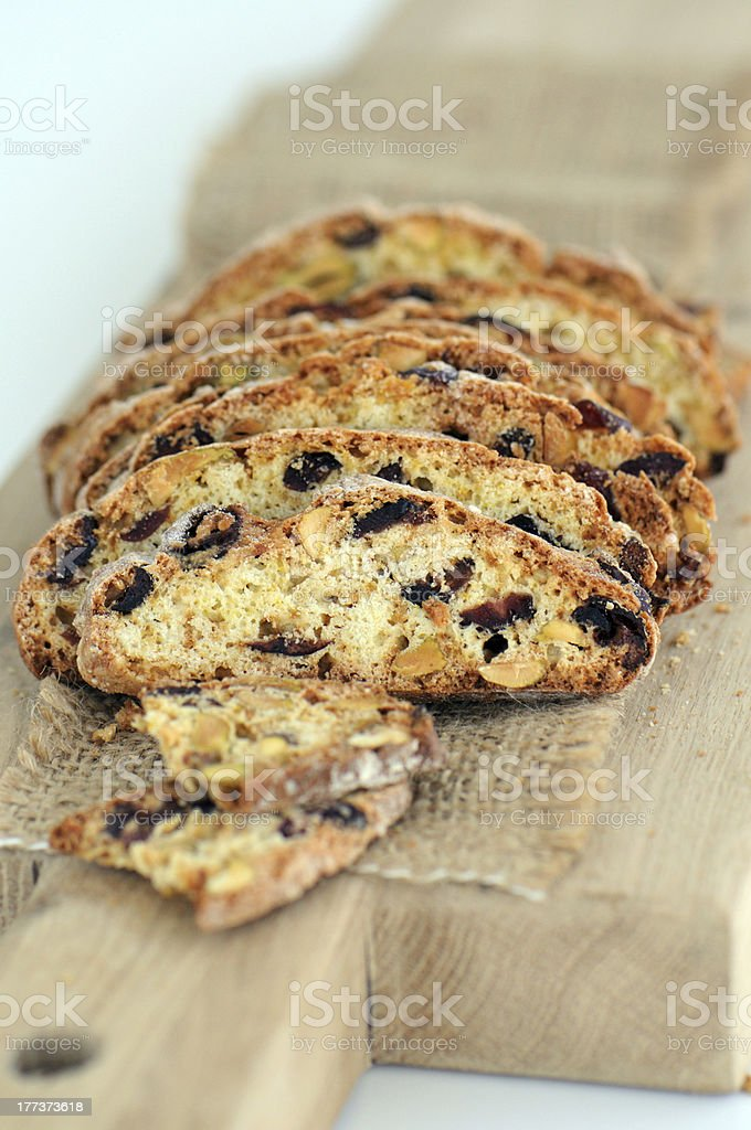 Pistachios and dried cranberries biscotti royalty-free stock photo
