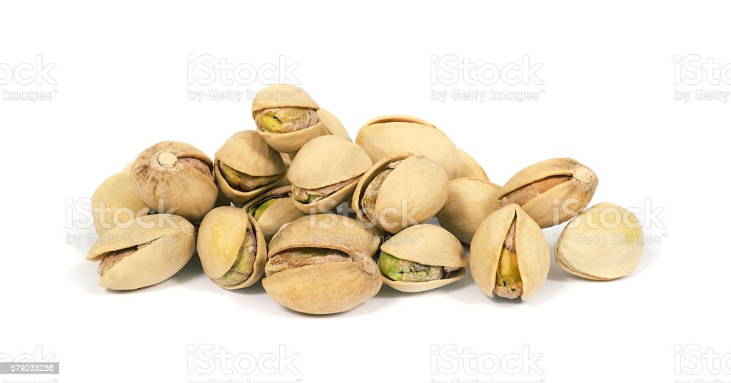 Pistachios on a white background stock photo
