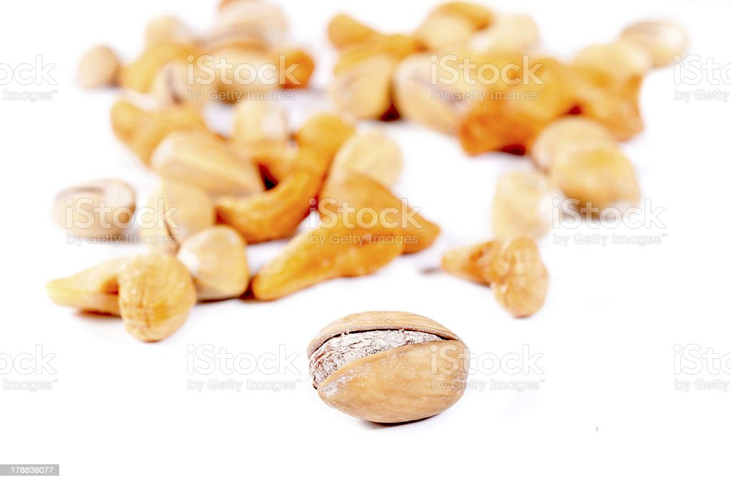 Pistacio and cashew nuts royalty-free stock photo