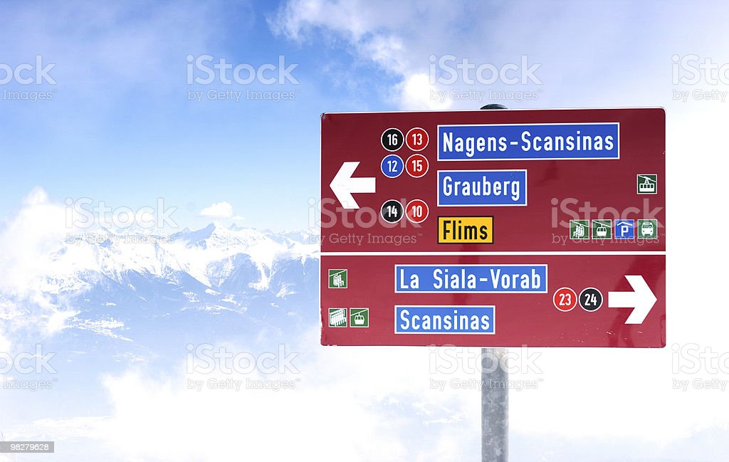 Piste sign at the top of a mountain stock photo