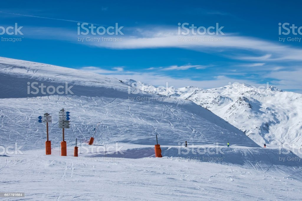 Piste signs in Meribel, Three Valleys ski resort in the French Alps, on a sunny, clear day stock photo