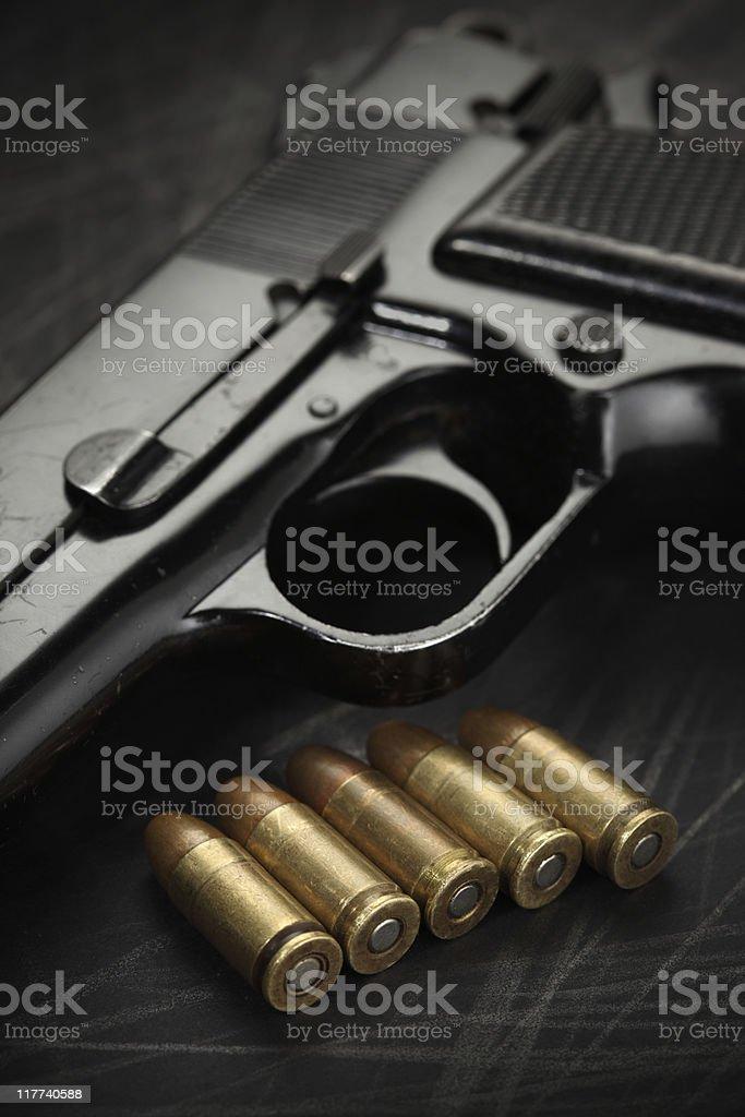 Pistol Bullets Close-up royalty-free stock photo