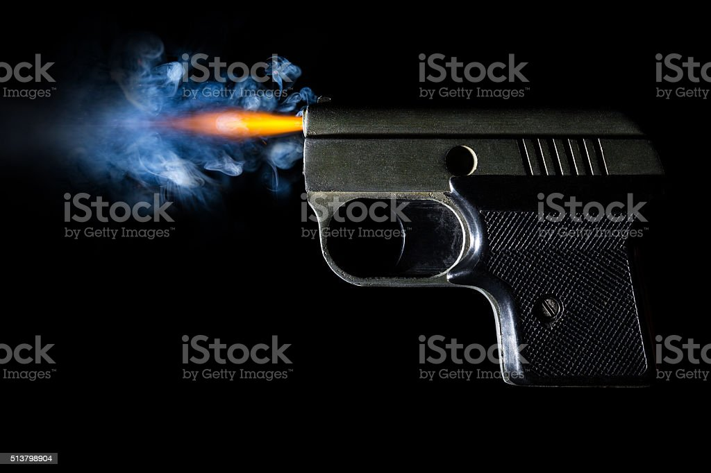 Pistol firing bullet. Illustration on black background stock photo
