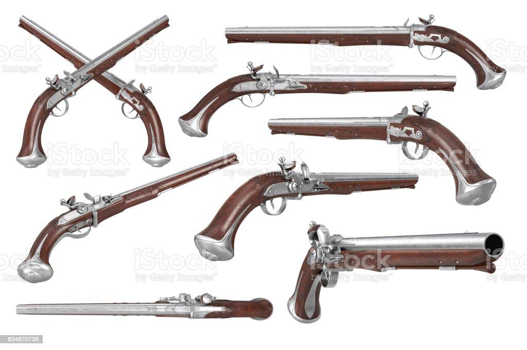 Pistol gun weapon set stock photo